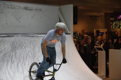 Half pipe biker � Falk Lumo 2010--Half pipe biker at the Photokina 2010 Sony booth, captured by a Pentax K-7 in AF.C mode, DA*16-50/2.8 SDM lens at 50mm.